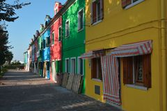 Colourfullhuizen in Burano Royalty-vrije Stock Foto's