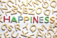 Colourfully διακοσμημένη διαμορφωμένη επιστολή ΕΥΤΥΧΙΑ μπισκότων μεταξύ σαφών Στοκ Εικόνες