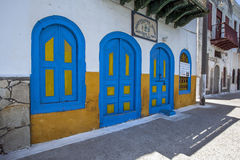 The colourfully decorated front of a building facing onto the harbour on the Greek island of Kastellorizo. Kastellorizo, otherwise known as Meis island, is Stock Photography