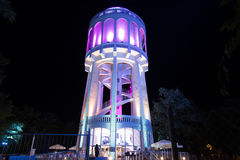 Colourfully lightened water-tower - 2. turquoise Royalty Free Stock Photo