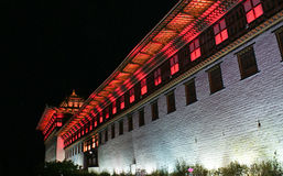 Colourfully lit walls of Thimphu Dzong, Thimphu, Bhutan. Stock Photos