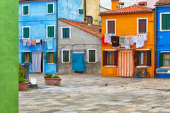 Colourfully painted house facade on Burano. Island, province of Venice, Italy Stock Photography