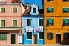 Colourfully painted house facade on Burano. Island,Venice, Italy Royalty Free Stock Photography