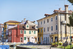 Colourfully painted houses on Burano island,Italy Royalty Free Stock Photography
