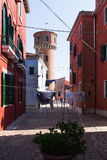 Colourfully painted houses on Burano, Venice, Italy. Royalty Free Stock Image