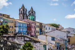 Historical centre Pelourinho, Salvador, Bahia, Brazil. Colourfully painted houses in the Historical centre Pelourinho, Salvador, Bahia, Brazil stock image
