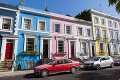 Colourfully painted Victorian terrace houses Royalty Free Stock Images