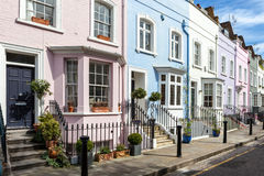 Colourfully painted Victorian terrace houses Stock Images