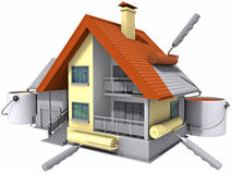 Colouring. Colouring of the constructed house by a paint. Image with clipping path Stock Image