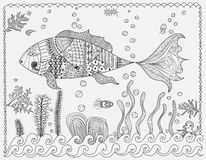 Colouring Abstract Fish. Colouring  Abstract Fish. Vector Illustration Royalty Free Stock Image