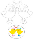 Colouring birds. Funny illustration of two cute birds, useful as colouring page for educational games. Vector Royalty Free Stock Photo