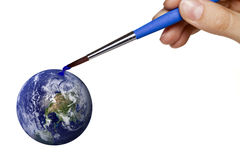 Colouring blue planet earth Stock Photography