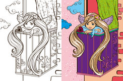 Colouring Book Of Angel Girl On Balcony Stock Photography