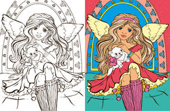 Colouring Book Of Angel Girl With Cat. Colouring book vector illustration of beautiful angel girl with cat Stock Image