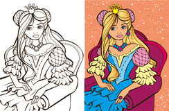 Colouring Book Of Blonde Princess. Colouring book vector illustration of beautiful Russian princess sitting in a chair stock illustration