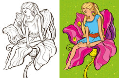 Colouring Book Of Cirl Sit On Flower. Colouring book vector illustration of beautiful girl sitting on a flower royalty free illustration