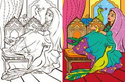 Colouring Book Of Eastern Princess  Royalty Free Stock Photography