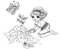Colouring book Gardening. Picture of A Little girl gardening Royalty Free Stock Photo