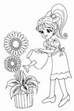 Colouring book Gardening Stock Images