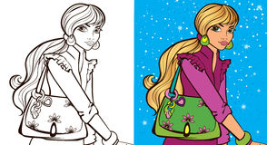 Colouring Book Of Girl With Bag Royalty Free Stock Image