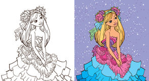 Colouring Book Of Girl In Flower Dress Royalty Free Stock Photo