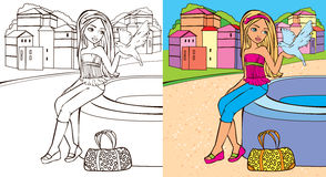 Colouring Book Of Girl Hold Dove Royalty Free Stock Photo