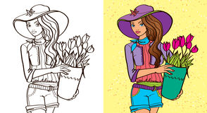 Colouring Book Of Girl Hold Flowers Stock Photo
