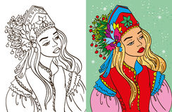 Colouring Book Of Girl In Kokoshnik. Colouring book vector illustration of beautiful girl in kokoshnik and sundress vector illustration