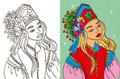 Colouring Book Of Girl In Kokoshnik Stock Images