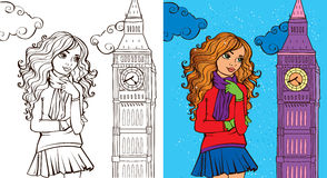 Colouring Book Of Girl In London Stock Photography