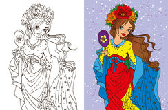 Colouring Book Of Girl With Mirror. Colouring book vector illustration of beautiful girl with a mirror and a floral wreath royalty free illustration