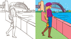 Colouring Book Of Girl Near Bridge Royalty Free Stock Photos