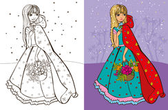 Colouring Book Of Girl In Red Coat. Colouring book vector illustration of beautiful girl in red raincoat hold basket of flowers vector illustration