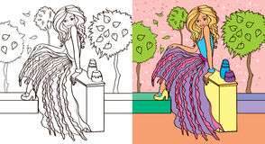 Colouring Book Of Girl In Skirt. Colouring book vector illustration of beautiful girl in a glamorous skirt Stock Photo