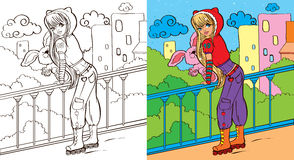 Colouring Book Of Girl With Toy Stock Photography