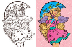 Colouring Book Of Girl With Umbrella. Colouring book vector illustration of beautiful angel girl with long curls holding umbrella royalty free illustration