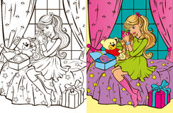 Colouring Book Of Girl Unpacks Gifts Royalty Free Stock Photos