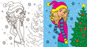 Colouring Book Of Girl In Winter Stock Photography