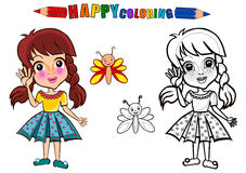 Colouring book. Happy kids playing with butterfly . Girl playing in the playground holding pinwheel - coloring book. The girl character name is Gloria stock illustration