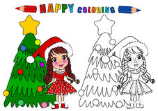 Colouring book isolated. Coloring book in christmas theme isolated. The girl character name is Gloria vector illustration