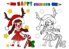 Colouring book isolated. Coloring book in christmas theme isolated.The girl character name is Gloria royalty free illustration