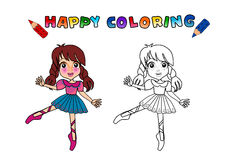 Colouring book isolated. Happy kids doing ballet. Ballerina cute cartoon girl - coloring book. The girl character name is Gloria royalty free illustration