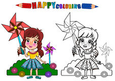 Colouring book isolated. Happy kids playing with pinwheel . Girl playing in the playground - coloring book. The girl character name is Gloria royalty free illustration