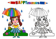 Colouring book isolated. Happy kids playing under the rain . Girl playing in the playground holding umbrella - coloring book. The girl character name is Gloria royalty free illustration