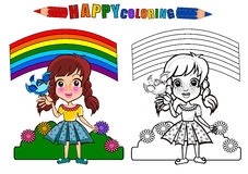 Colouring book isolated. Happy kids playing under rainbow . Girl playing in the playground holding bird - coloring book. The girl character name is Gloria royalty free illustration