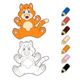 Colouring book kitten. Colouring book art work with kitten vector illustration