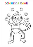 Colouring Book with Monkey Circus Royalty Free Stock Images