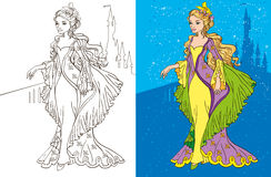 Colouring Book Of Princess And Castle. Colouring book vector illustration of beautiful princess in a long green dress stock illustration