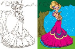 Colouring Book Of Princess In Forest Stock Photos