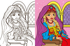 Colouring Book Of Russian Princess. Colouring book vector illustration of beautiful Russian princess in sundress vector illustration
